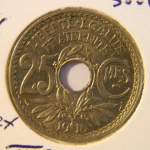 MM007 25 Centimes Lindauer 1916 Cmes Soulignés