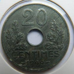 MM029 20 CENTIMES ETAT FRANCAIS 1944