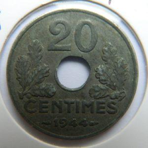 MM030 20 CENTIMES ETAT FRANCAIS 1944