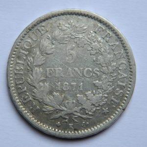 MM036 5 FRANCS HERCULE 1871 K