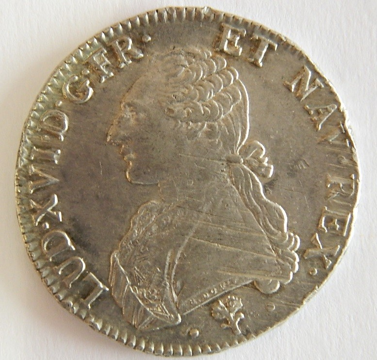 RY002 Ecu de Louis XVI 1785 L Ecu aux branches d'oliviers