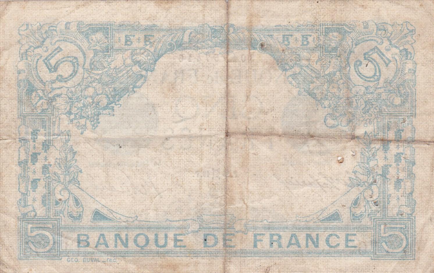 B014 fay239 billet 5frs bleu 260516