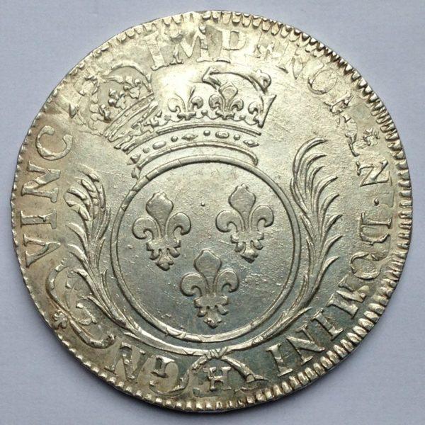 RY029 Louis XIV écu aux palmes H (la Rochelle)