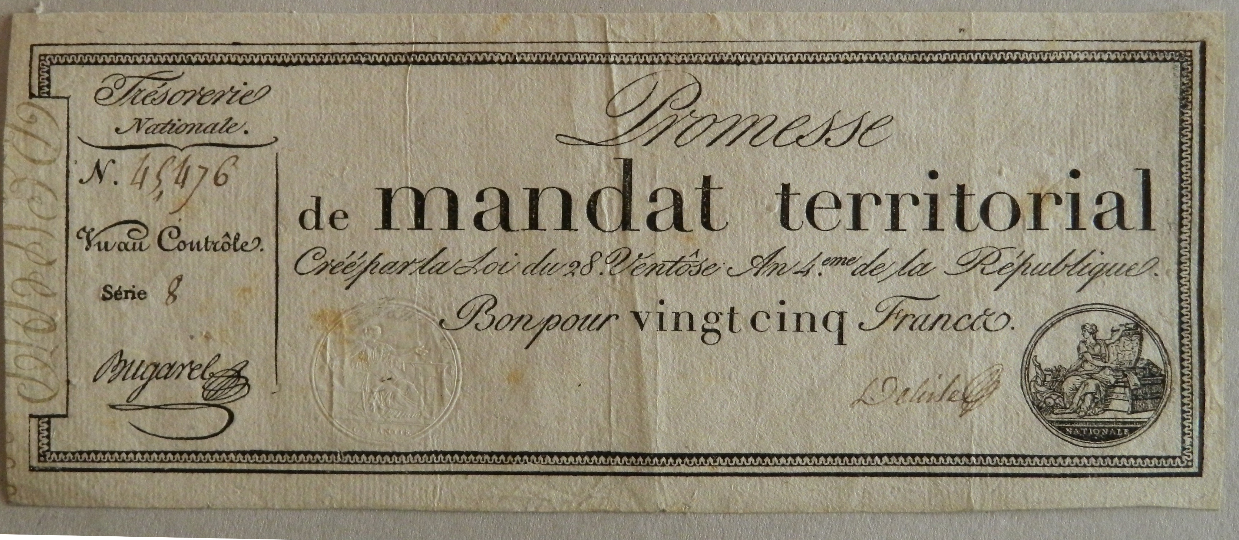 B009 Mandat territorial de 25 Francs An 4