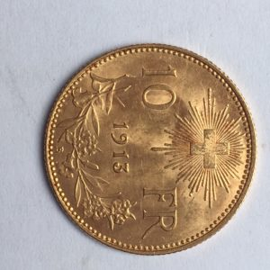 10frs suisse or 1913