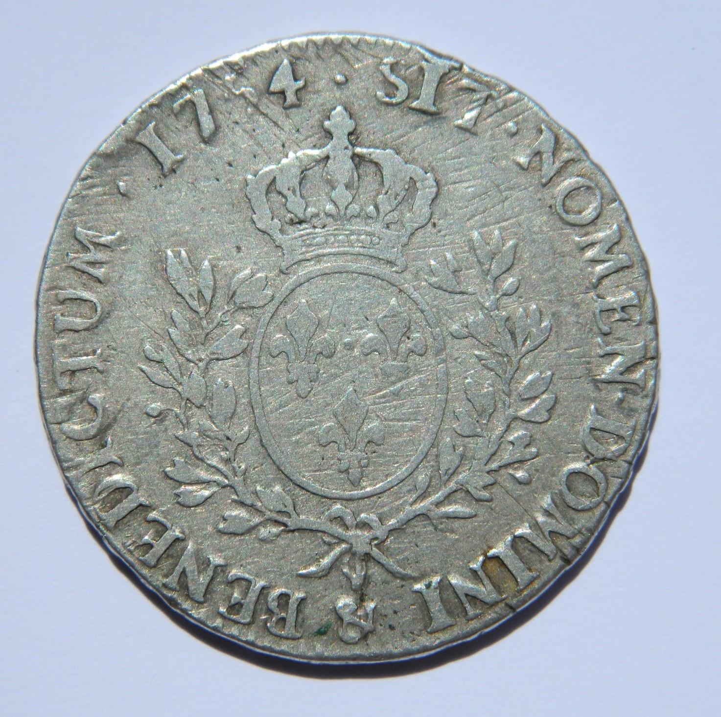 RY025 ECU LOUIS XV AU BANDEAU 1754 &